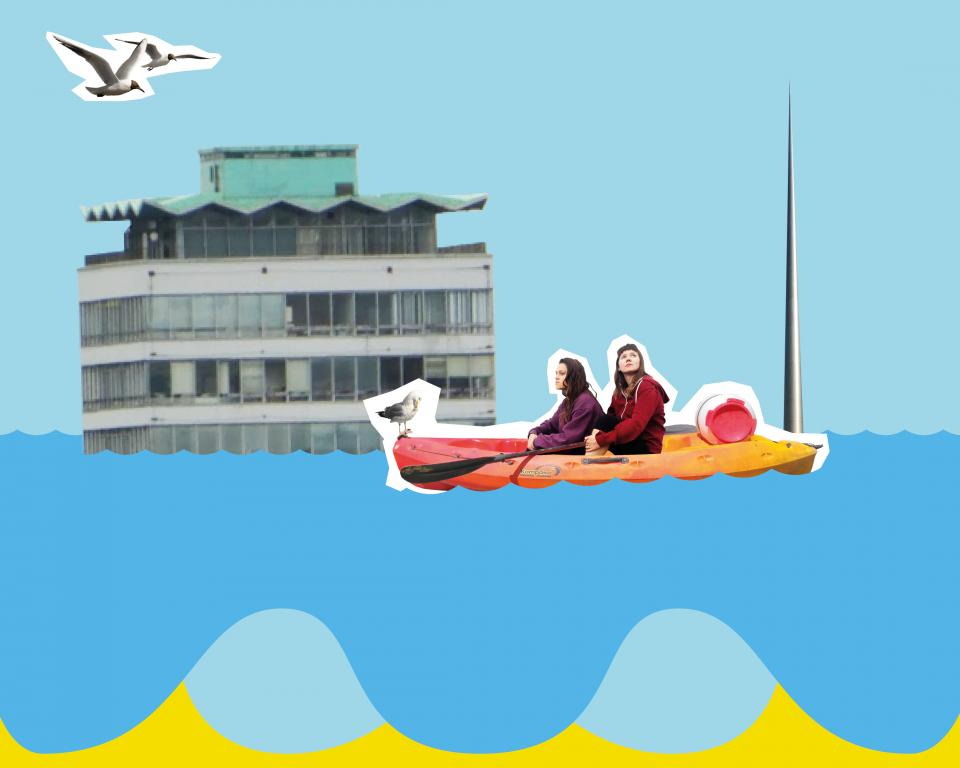 A collage image of two women on a boat floating past a submerged Spire and Liberty Hall with two seagulls overhead