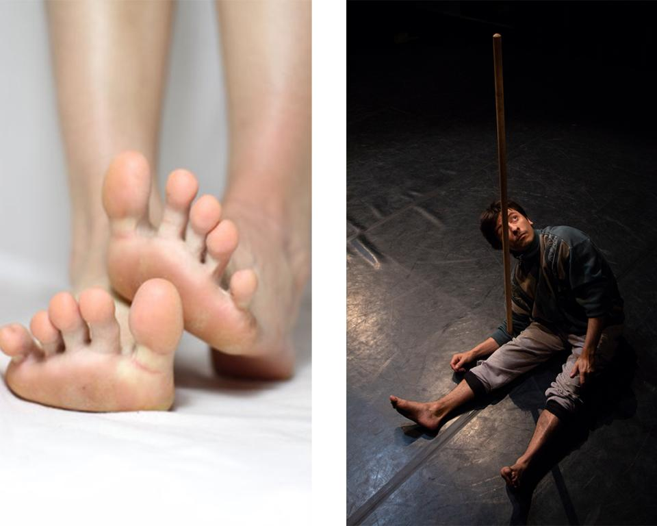 one image of feet, one image of a man and a stick