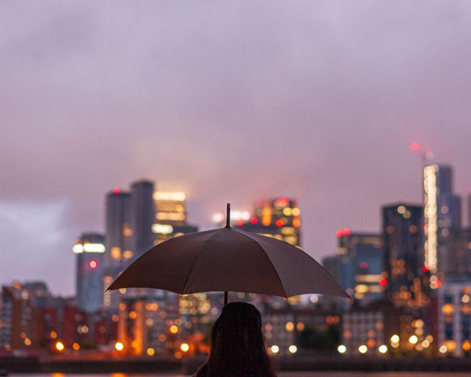 Person holding a umbrella facing dusky city lights