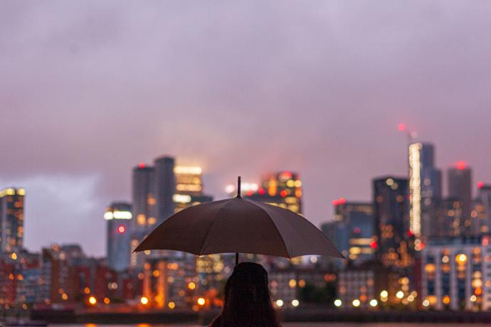 Person holding a umbrella facing dusky city lights