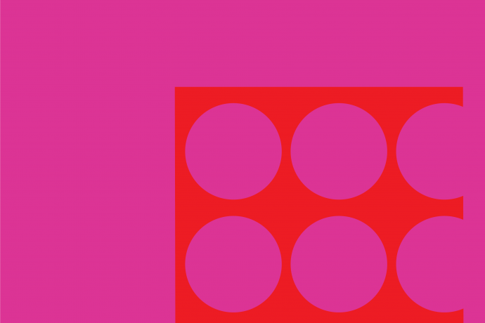 Orange graphic over magenta background