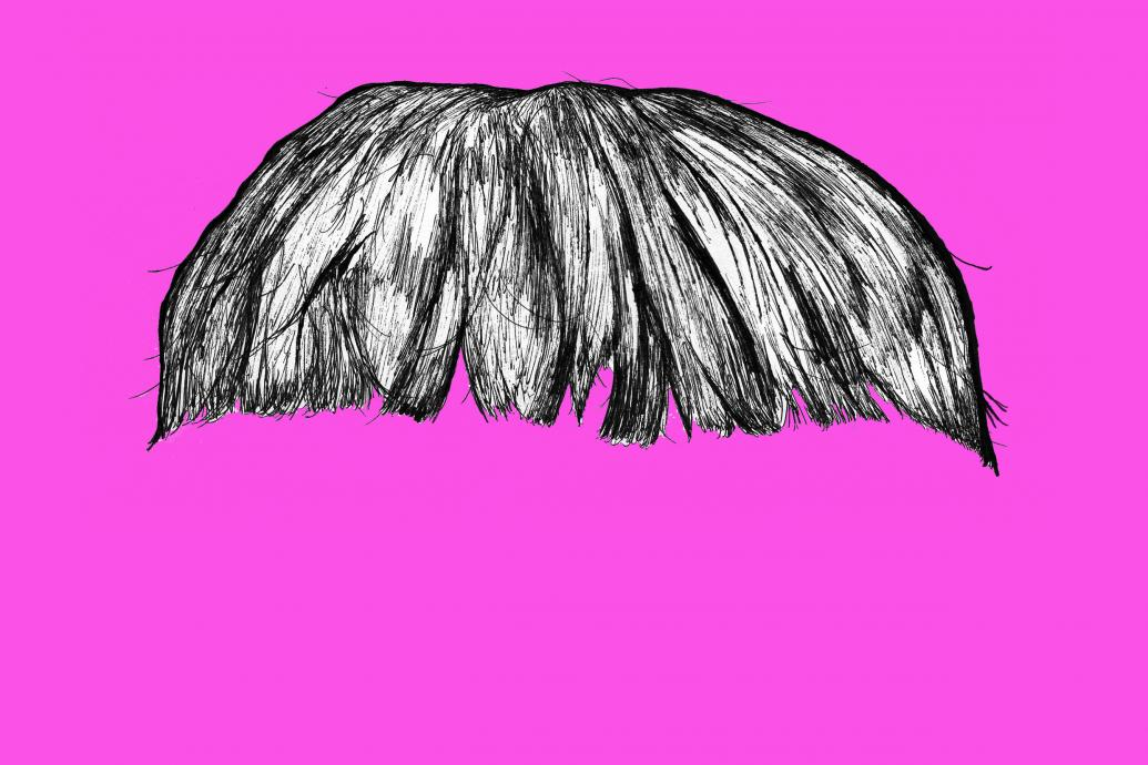 fringe hair on a pink background