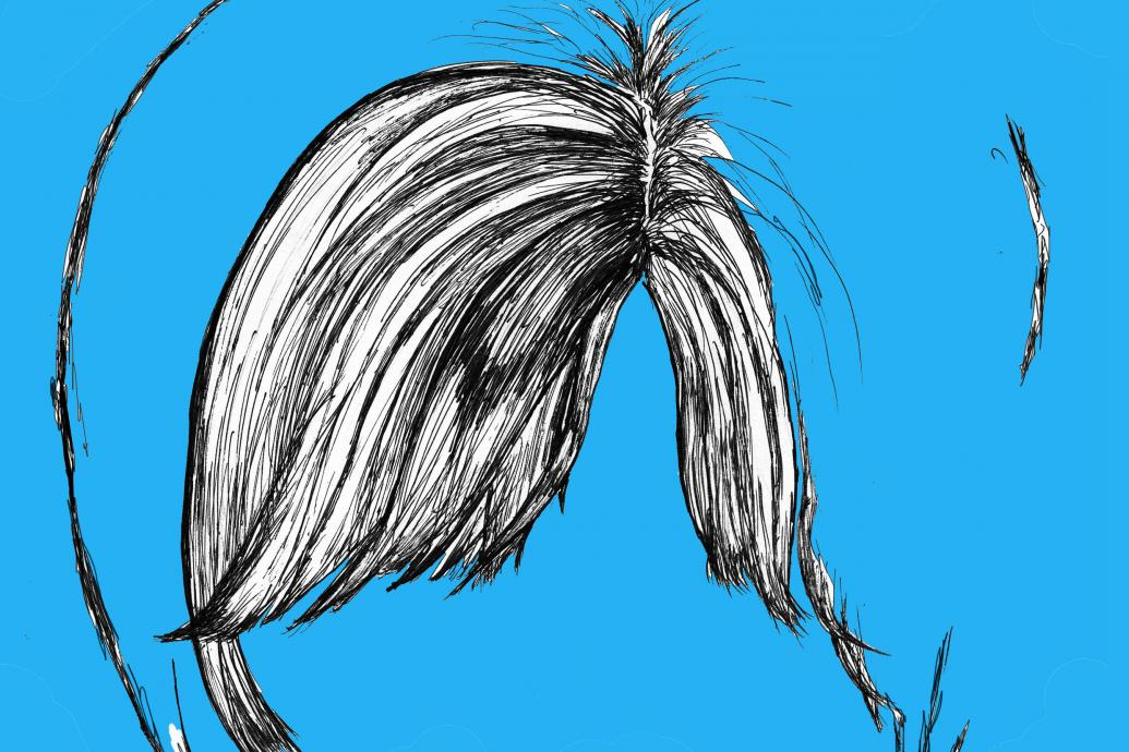 fringe hair on blue background
