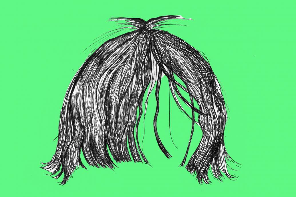 fringe hair on a green background