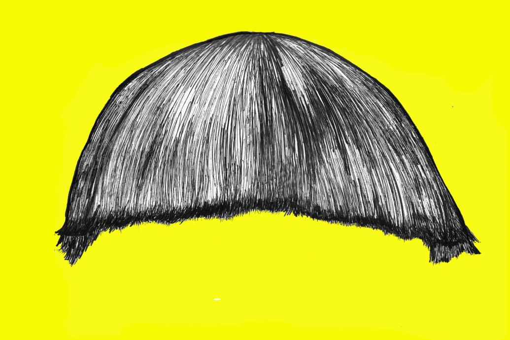 fringe hair on a yellow background